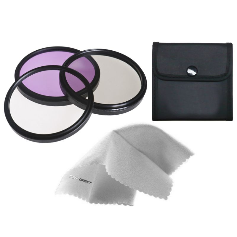52mm Made by Optics Multi-Threaded Canon EOS Rebel T6i High Grade Multi-Coated 3 Piece Lens Filter Kit Nw Direct Microfiber Cleaning Cloth.