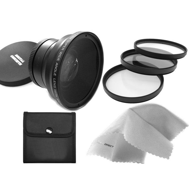Nw Direct Micro Fiber Cleaning Cloth 49mm 3 Piece Filter Kit Stepping Ring 49-58 Panasonic HC-V750 0.43X High Definition Super Wide Angle Lens w//Macro