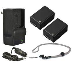 Panasonic Lumix DMC-FZ70 High Capacity Batteries (2 Units) + AC/DC Travel Charger + Krusell Multidapt Neck Strap (Black Finish)