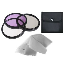 Sony VCL-DH0758 High Grade Multi-Coated, Multi-Threaded, 3 Piece Lens Filter Kit (58mm) + Nw Direct Microfiber Cleaning Cloth.